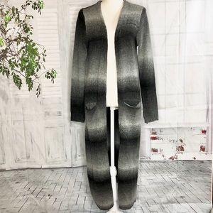 Joseph A. Open Long Sleeve Gray Maxi Cardigan Sz S